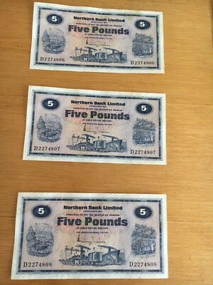 3 NORTHERN  £5 BANK NOTEs (consecutive numbers) July 1974. Northern Ireland.