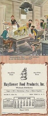 BUVARD AMERICAIN MAYFLOWER FOOD PRODUCTS Calendrier Aout 1948