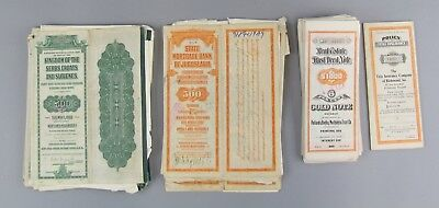 Lot of 41 Mixed Gold Bonds Uncancelled w/Coupons and Deeds Jugoslavia,Croats++