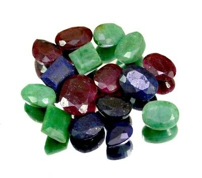 140ct / 16pcs Natural Emerald Ruby Sapphire Ring Size Gemstone Wholesale Lot