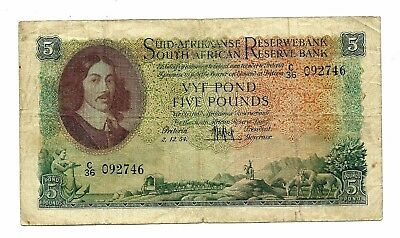 South Africa (P97c) 5 Pounds 1954