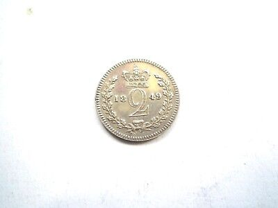 Rare Early -Victorian Silver Maundy 2 Pence Coin From The Uk Dated-1849-Nice