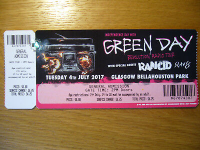Green Day Rancid Slaves Skids Concert Gig Tour Ticket Glasgow Punk Memorabilia