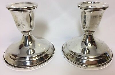 Sterling Silver Candlesticks Pair Towle Usa Vintage