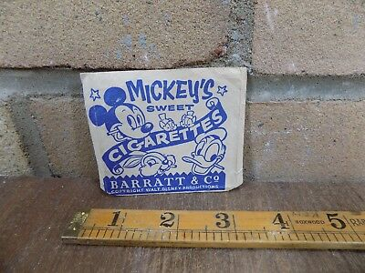 Barratt Co Mickey Mouse Smoking Disney Sweet Cigarette Paper Pack Packet c1940s