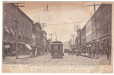 Antique 1906 Udb Center Street Looking South Corry Pennsylvania Postcard
