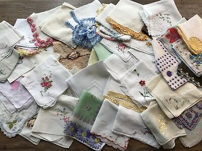 Craft Lot 45 Vintage Hankies Handkerchiefs Lace Prints Embroidery AS IS