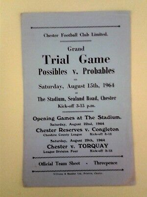 Chester FC Trial match Possibles v Probables 1964/5
