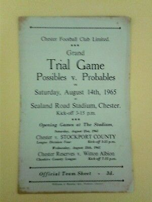 Chester FC Trial match Possibles v Probables 1965/6