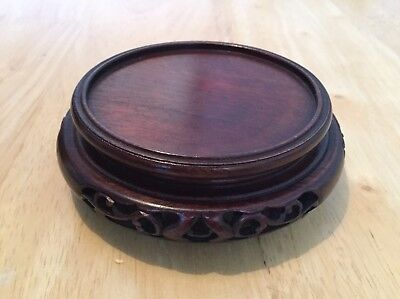 Vintage Chinese Pot Stand. Carved Wood.