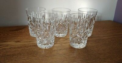 5 Whiskey Glasses Tumblers Tots Crystal Cut Glasses 8.5 cm tall, 5.5 cms wide