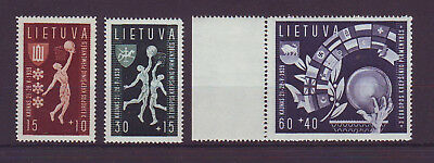 1939 Lithuania Basketball 3v MNH stamps set