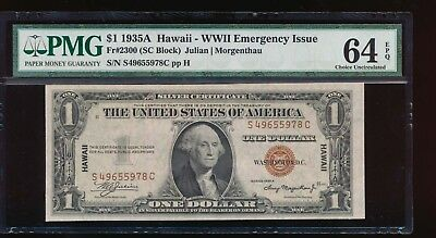 AC Fr 2300 1935A Hawaii $1 PMG 64 EPQ S-C block .. Choice Uncirculated!