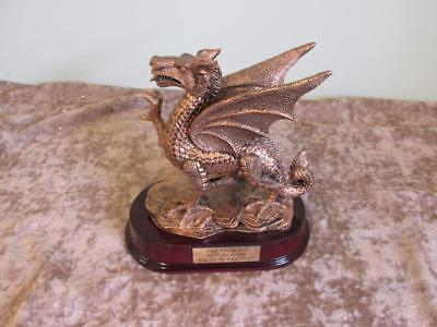 Visually Stunning RAF Plaque Bronze Coloured Metal Dragon On Wooden Plinth