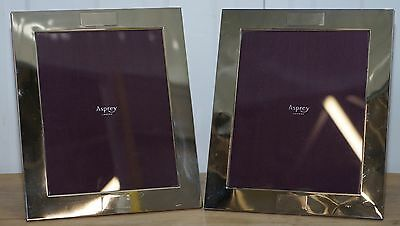 Pair Of Large Rrp £2200 Asprey London Crosshatch Sterling Silver Picture Frames