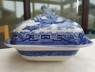 old willow english ironstone square lidded tureen