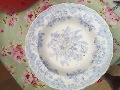 Vintage Asiatic Pheasant Pottery Blue White Bowl Dish Collectable Look