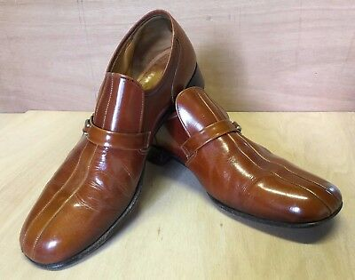Mens Vintage Loake Shoes All Leather Dark Honey Size 10 Slip.