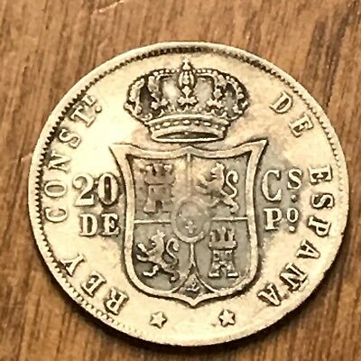 Phillipines 1881H 20 Centamos KM#146 Silver Coin