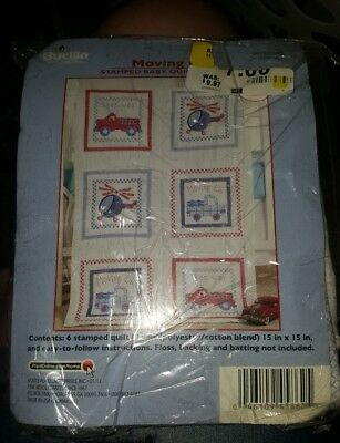 """""""Moving On"""" Bucilla 6 Stamped Baby Quilt Blocks, Multiples Available NIP free sh"""