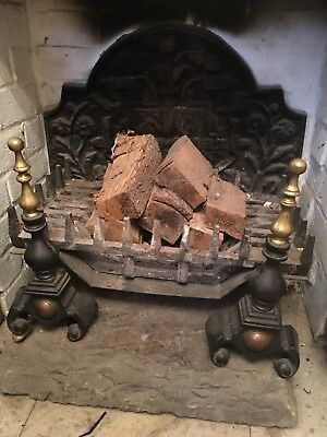 Brass And Cast Iron Fire Dogs And Grate