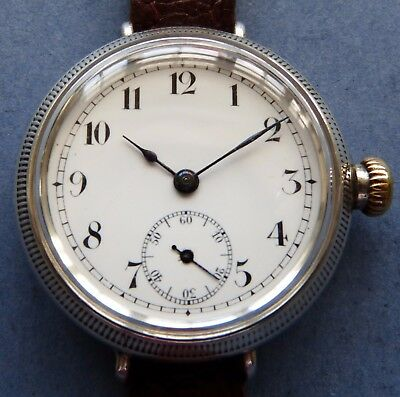 Large MINT dial WW1 Silver screw covers 15J mens Trench-1914+period strap