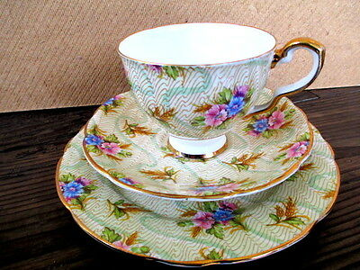 "Art Deco / Vintage China Tea Set Trio.Royal Stafford.""Elizabeth"" .British."