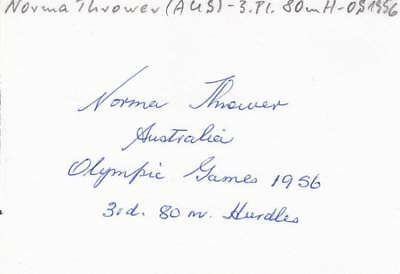 NORMA THROWER *AUS*  >  3. Olympics 1956 / ATH - sign. card