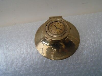 lovely antique metal inkwell with art deco style clock   hallmarked 21   LOOK