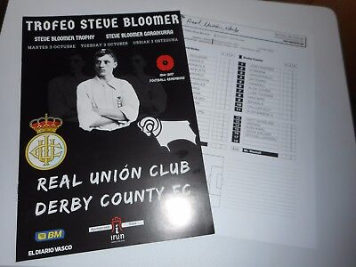 REAL UNION CLUB ( SPAIN )  v  DERBY COUNTY 2017/18 STEVE BLOOMER TROPHY ~ OCT 3