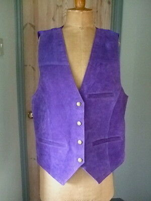 VINTAGE PURPLE LEATHER  WAISTCOAT by  DONT STOP CLASSICS M SIZE 38 INCH CHEST