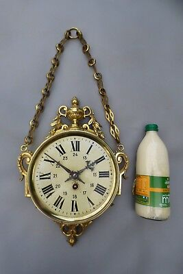 A LOVELY JAPY FRERES 8 DAY BRASS BOULANGERE WALL CLOCK WITH KEY c1890 *SERVICED*