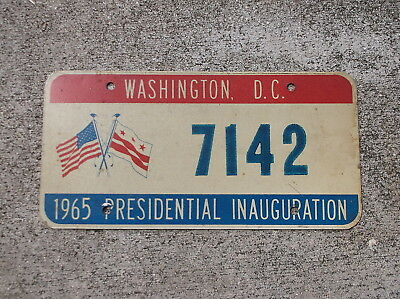 District of Columbia 1965 Presidential Inauguration  License Plate #  7142