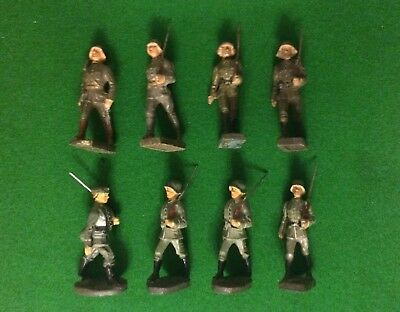 EIGHT RARE LINEOL and ELASTOLIN GERMAN & FOREIGN TROOPS from 1930s