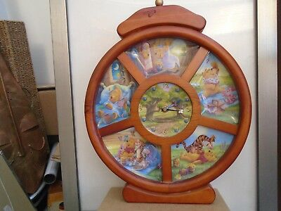 rare BRADEX winnie the pooh clock with small porcelain plates   quirky clock WOW
