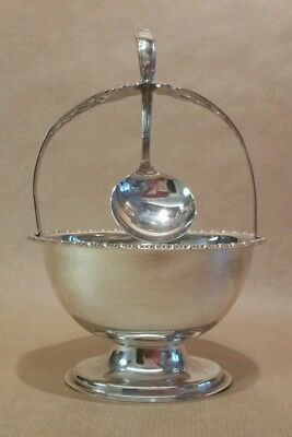Vintage Yeoman of England Silver Plate Sugar Salt Pot Server & Spoon Tableware