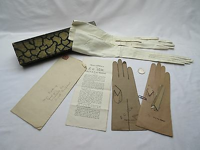 vintage ladies white kid ? fine leather glove oddments & paper glove patterns .