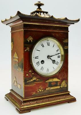 Red Chinoiserie Bracket Mantel Clock Exquisite Condition by Maple & Co C1890