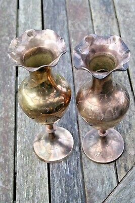 2 Tall Round Engraved Brass Vases with Scalloped Edges Not an Exact Pair
