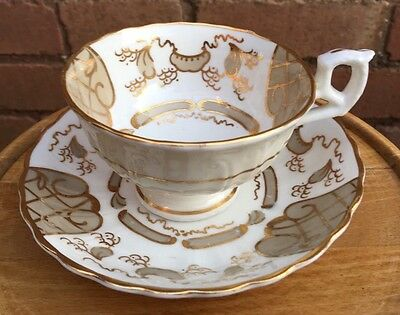 Antique Victorian White & Gilt Gaudy Welsh Cup & Saucer (Tea Cup) Six Available