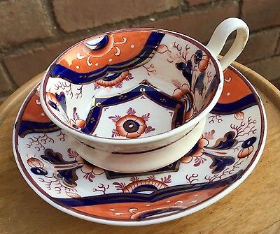 Antique Victorian Imari Pattern Gaudy Welsh Cup & Saucer (Teacup) 3 Available