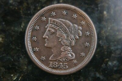 1845 Braided Hair Large Cent Choice AU coin nice unmared surfaces!!