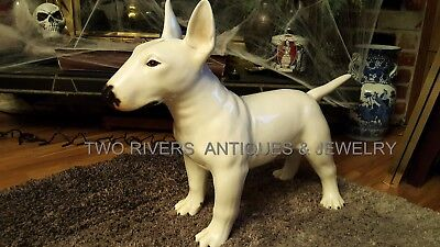 Life Size Bull Terrier Statue Incredible! Hand Painted Signed Show Dog Ceramic