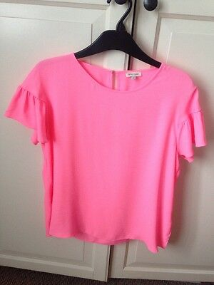 Ladies Pink Frill Sleeve River Island Top Size 14 Next Day