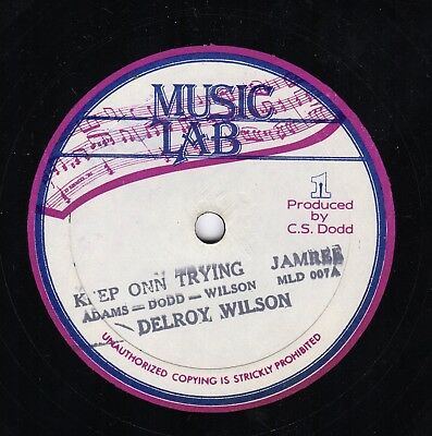 """"""" KEEP ON TRYING. """" delroy wilson. MUSIC LAB 10in 1982."""