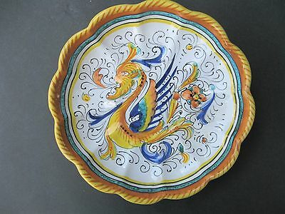 Vintage Italian Deruta Dragon Scalloped Wall Plate Hand Painted Italy