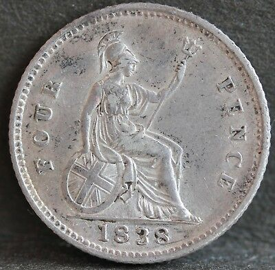 Victoria. Sterling Silver Groat / Fourpence, 1838. aEF / EF