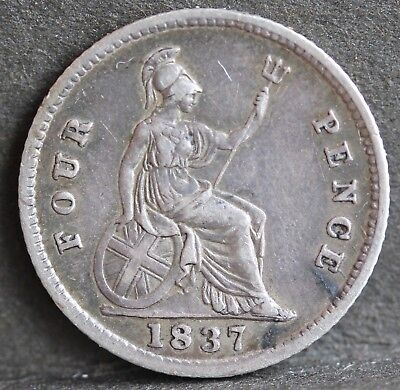 William IV Stering Silve Groat / Fourpence, 1837. VF / gVF.