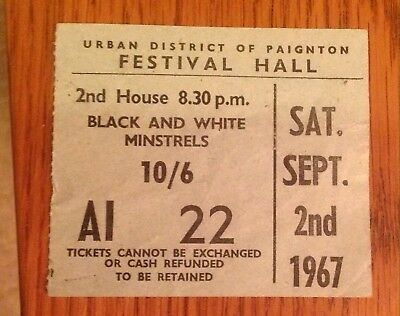 Very Rare Stub Ticket For Black And White Minstrels At Paignton Festival Hall