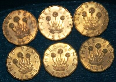 GB - 6 x Coin mix (Brass Threepences) All High grade